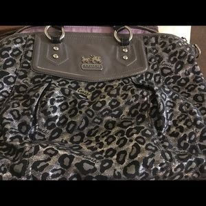 Coach Ocelot Animal Print Fabric Satchel